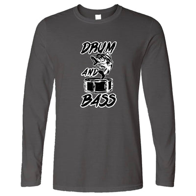 Novelty Music Long Sleeve Drum And Bass Fish Slogan T-Shirt