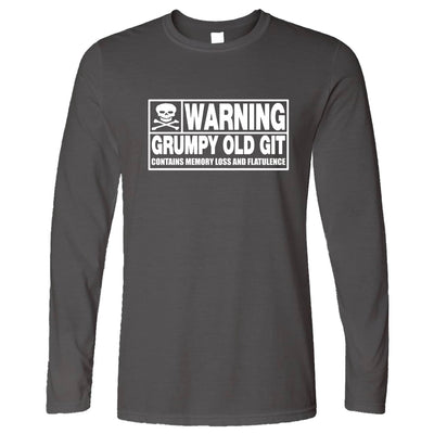 Novelty Long Sleeve Warning, Grumpy Old Git Slogan Joke T-Shirt