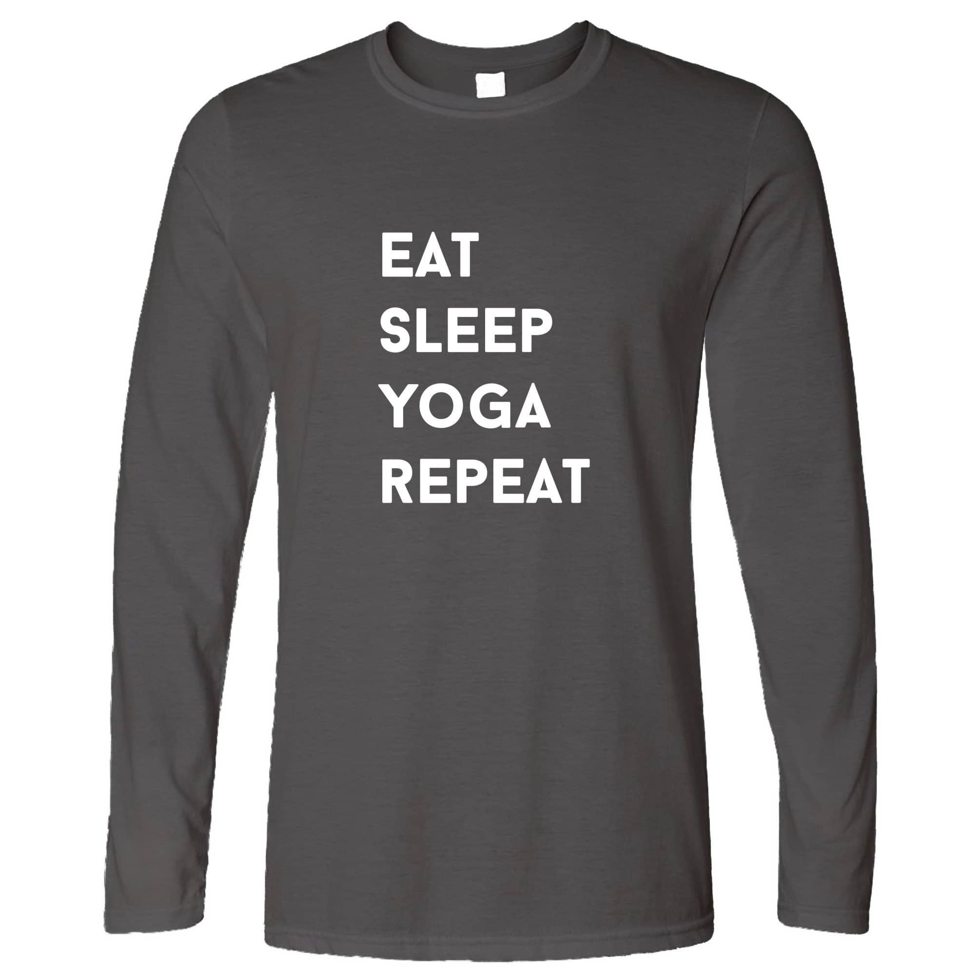 Gym Long Sleeve Eat, Sleep, Yoga, Repeat Slogan T-Shirt