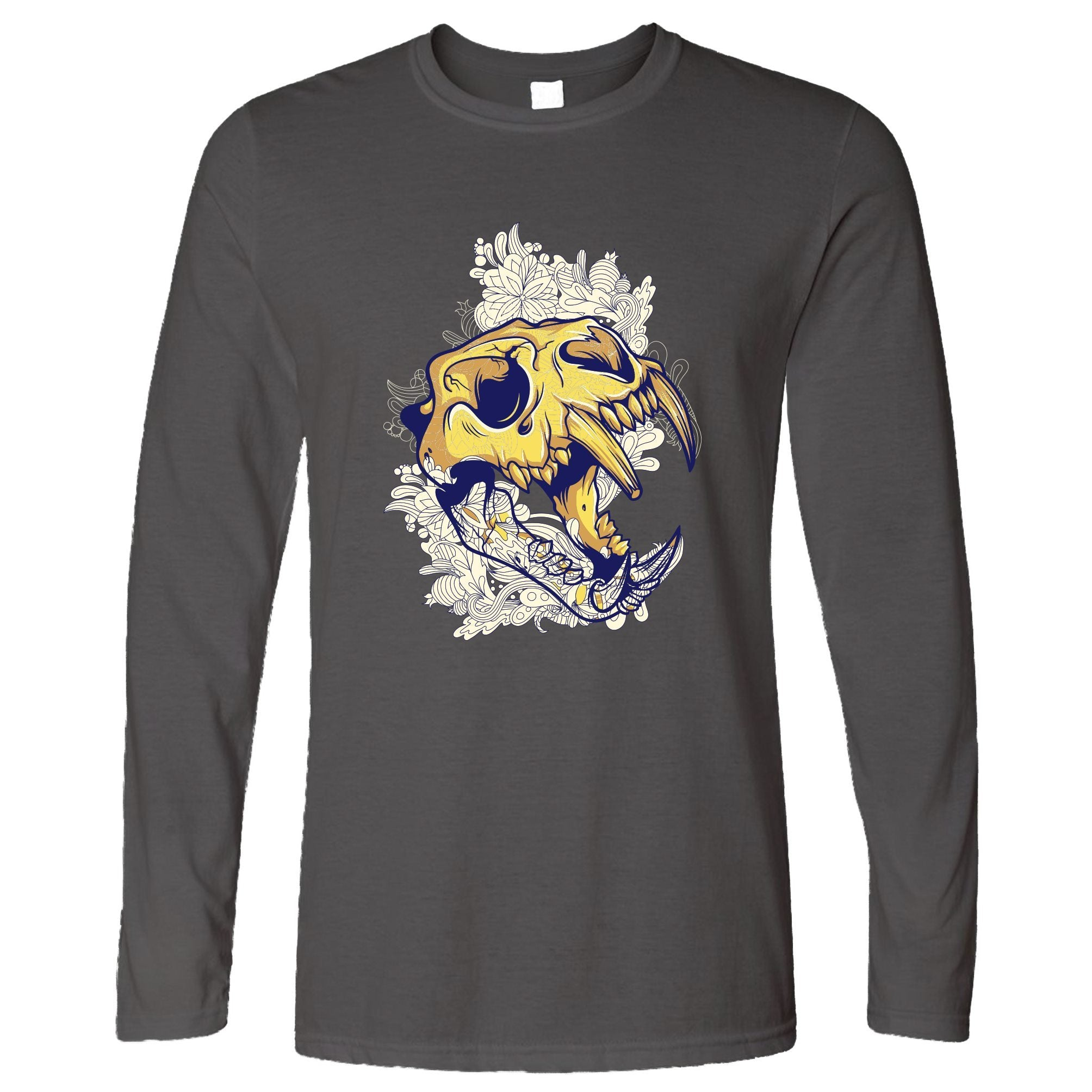 Ice Age Art Long Sleeve Sabertooth Tiger Skull Graphic T-Shirt