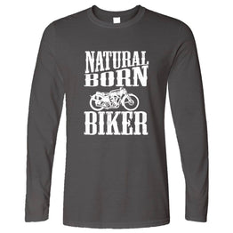 Biker Long Sleeve Natural Born Biker Slogan