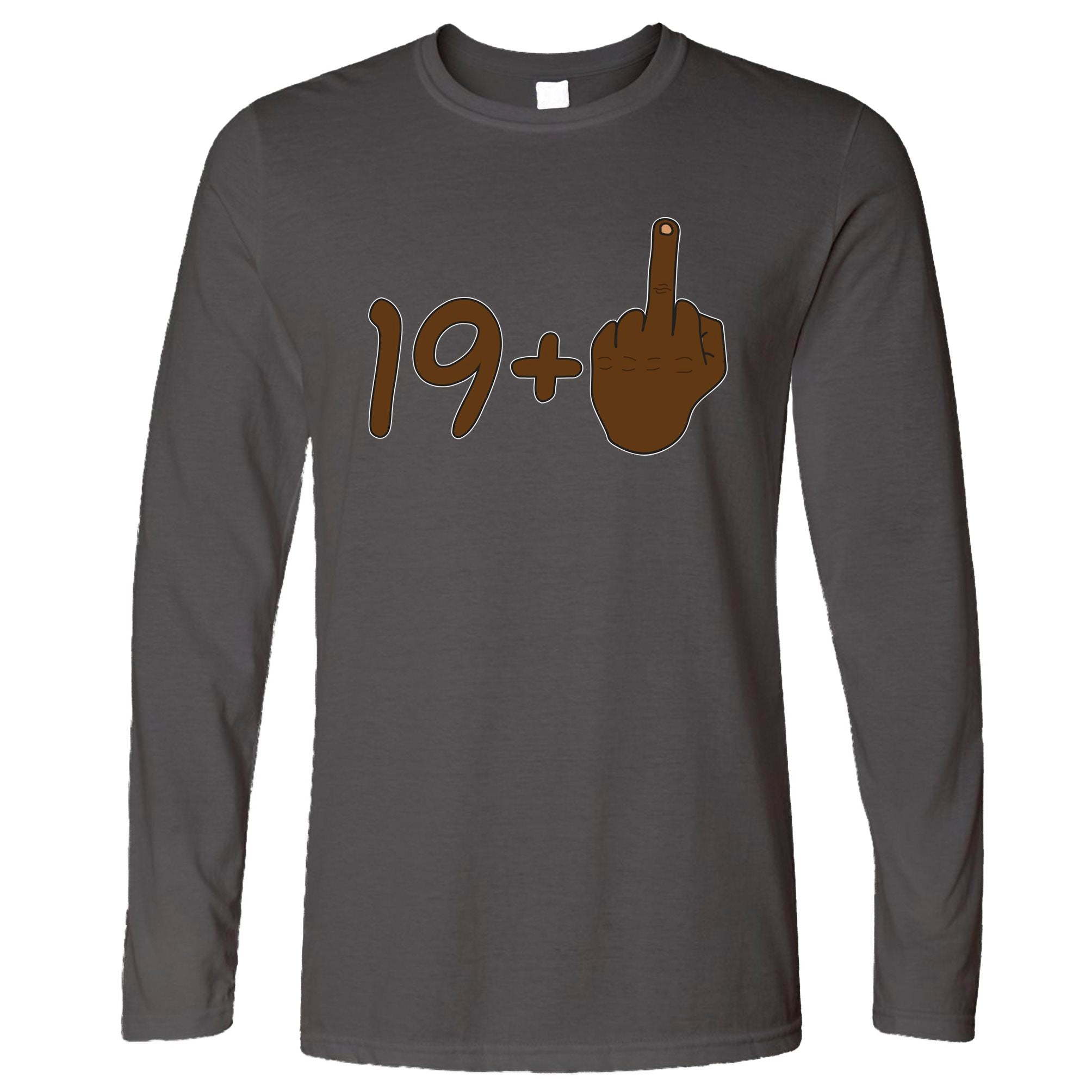 Rude 20th Birthday Long Sleeve Black Middle Finger T-Shirt