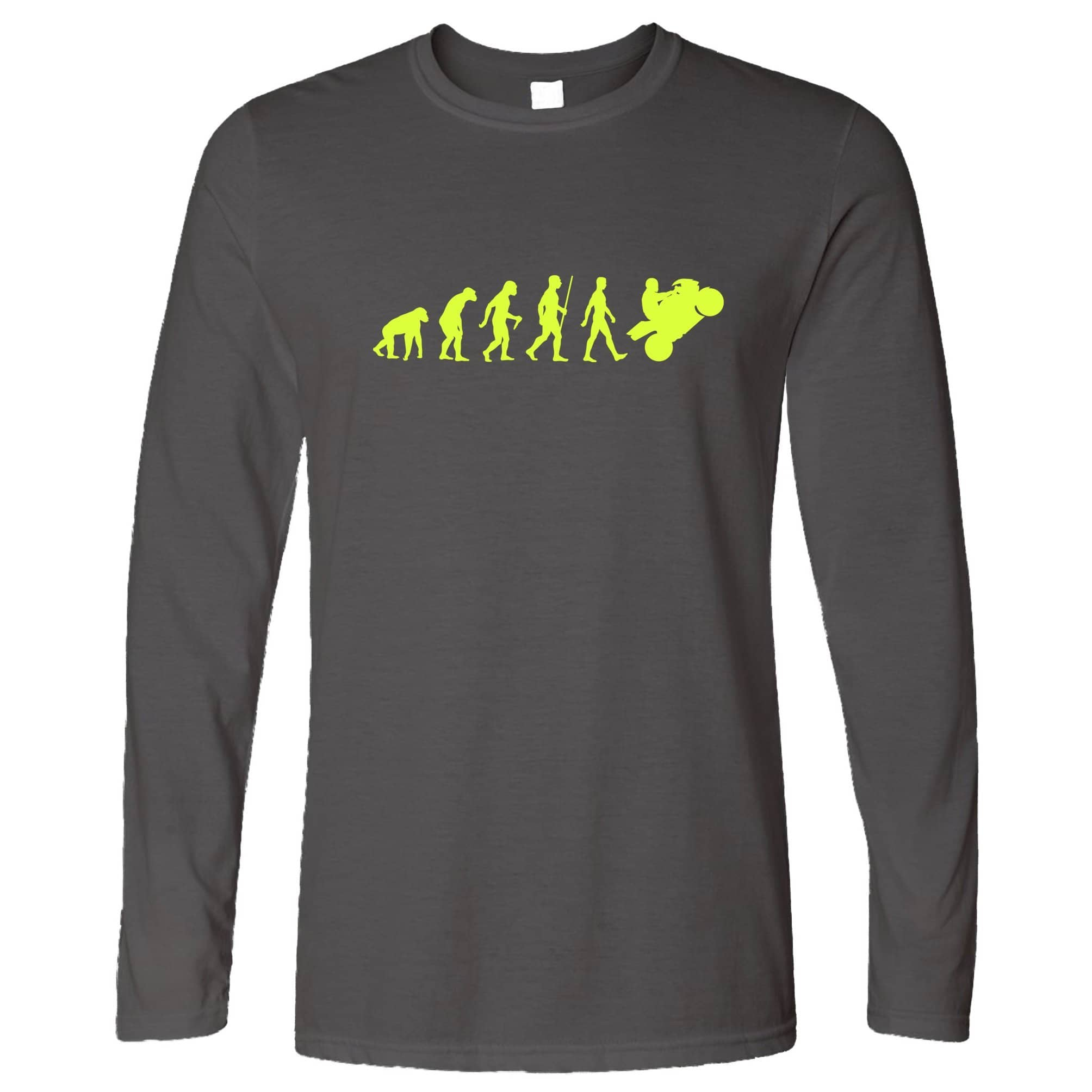 Biking Long Sleeve Evolution Of A Motorbike Neon Yellow T-Shirt