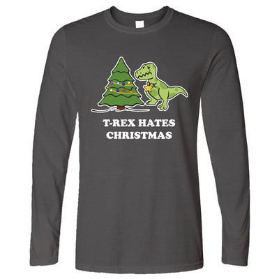 Novelty Xmas Long Sleeve T-Rex Hates Christmas Joke T-Shirt