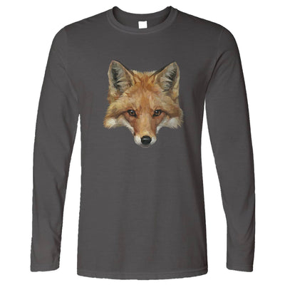 Animal Art Long Sleeve Low Poly Fox Graphic T-Shirt