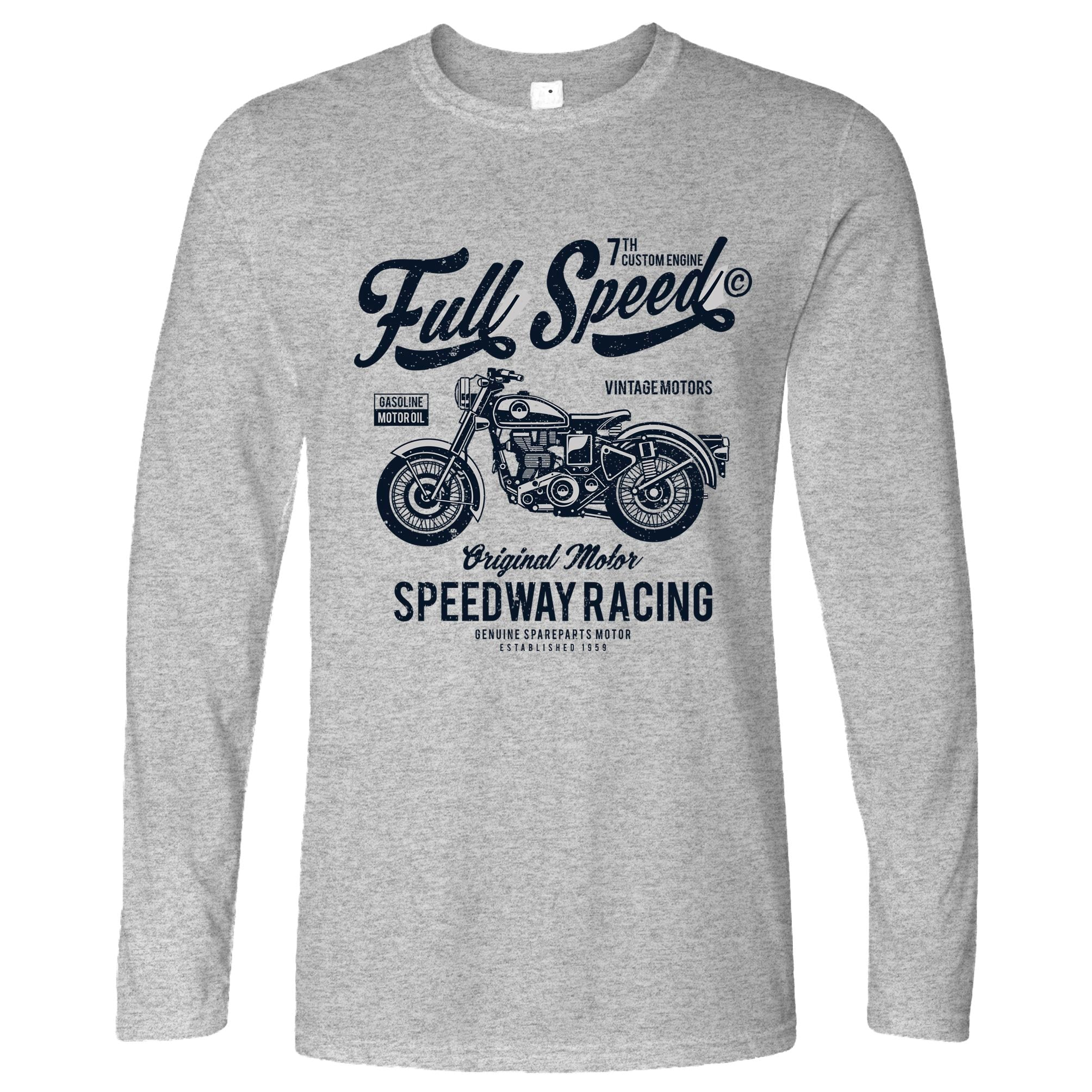 Retro Biker Long Sleeve Full Speed Speedway Racing Art T-Shirt