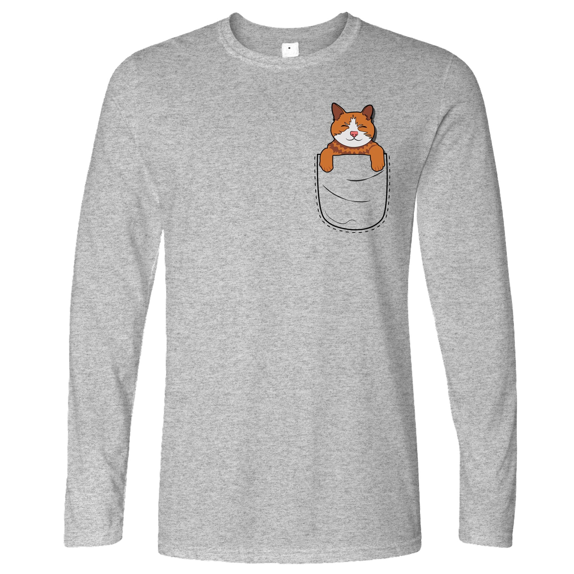 Funny Cute Cat Long Sleeve Kitten in Pocket T-Shirt