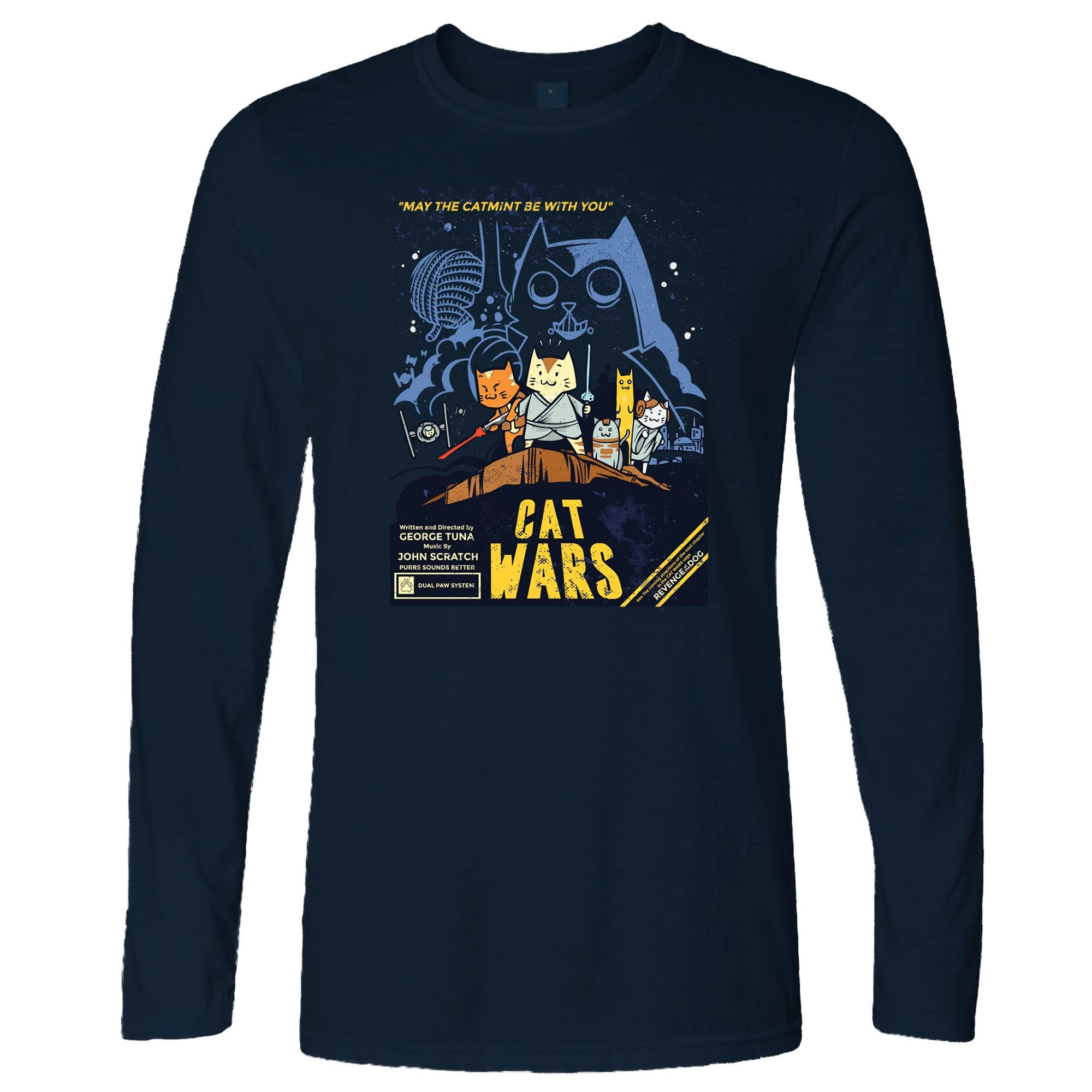 Cat Wars Long Sleeve Funny Star Parody T-Shirt