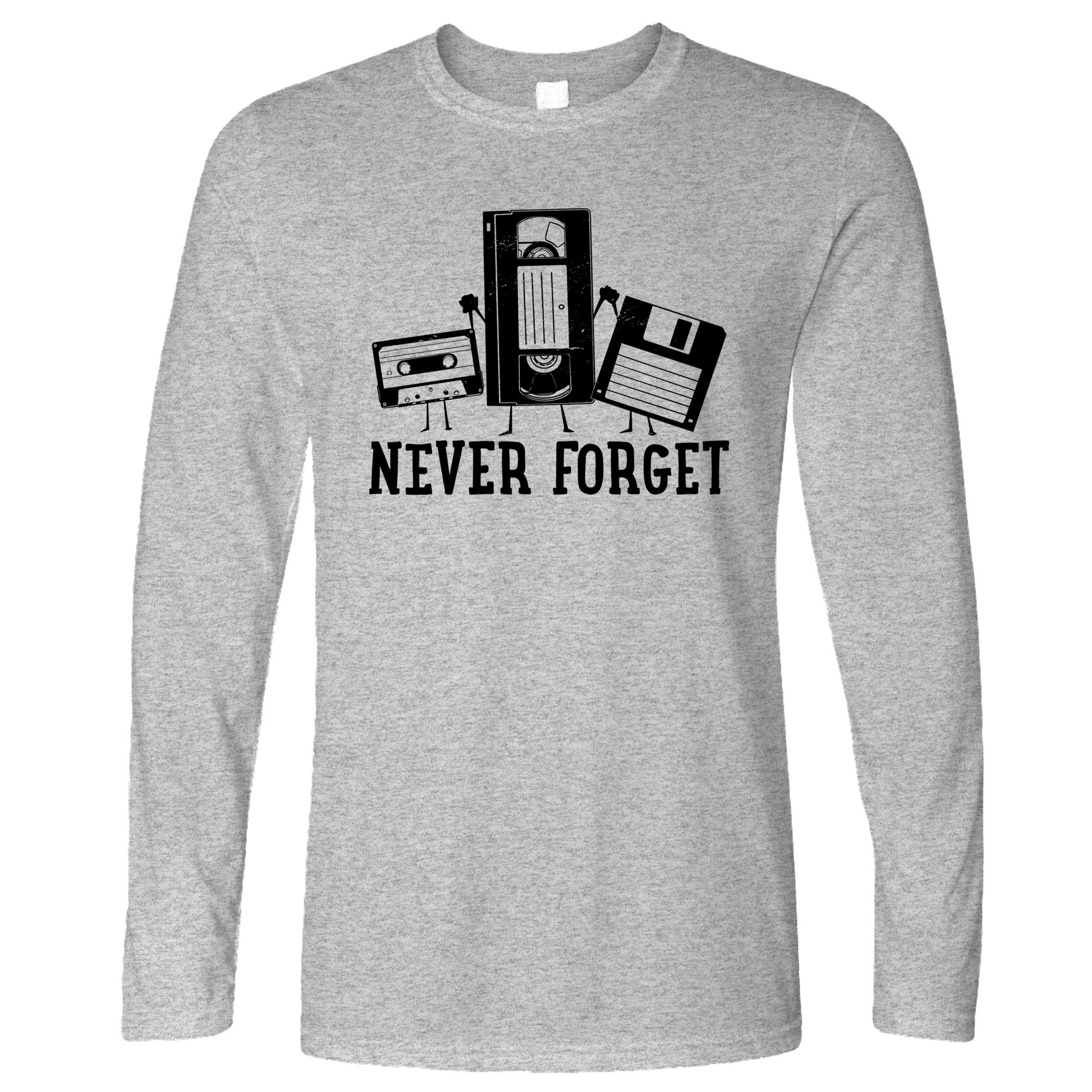 Retro Long Sleeve Never Forget VHS and Floppy Discs T-Shirt