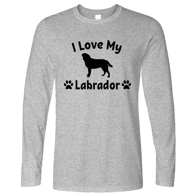Dog Owner Long Sleeve I Love My Labrador Slogan T-Shirt