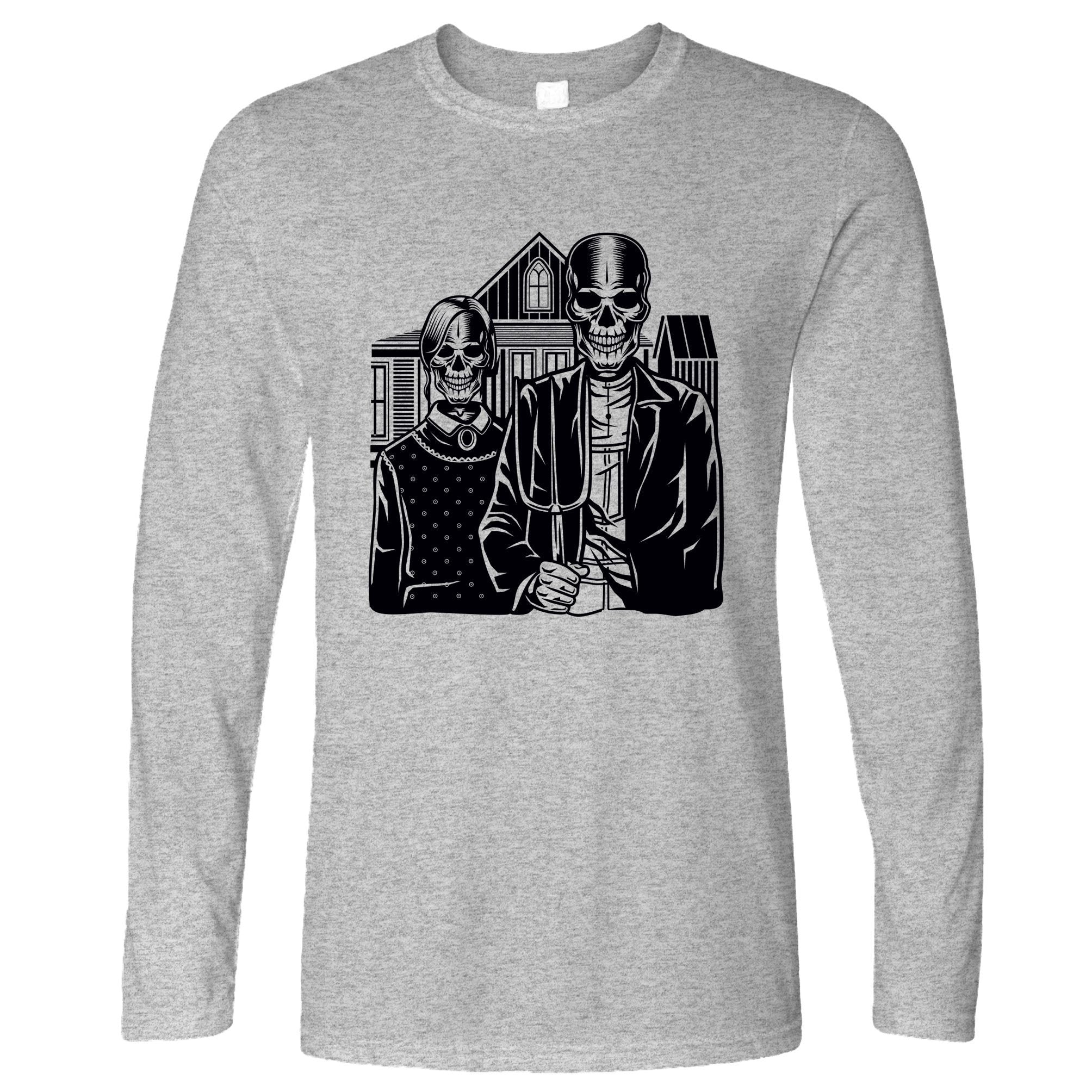 Skulls Long Sleeve Skeleton Gothic House in Eldon T-Shirt