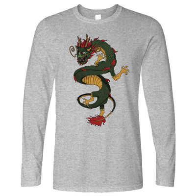 Traditional Chinese Long Sleeve Serpent Dragon Art T-Shirt
