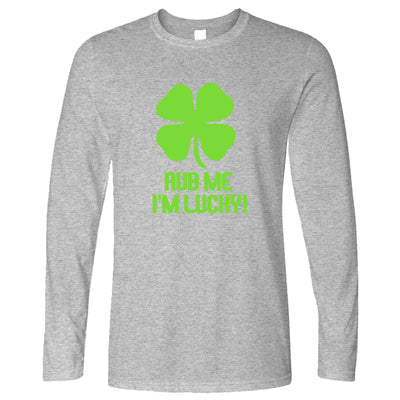 St Patrick's Day Long Sleeve Rub Me I'm Lucky Slogan T-Shirt