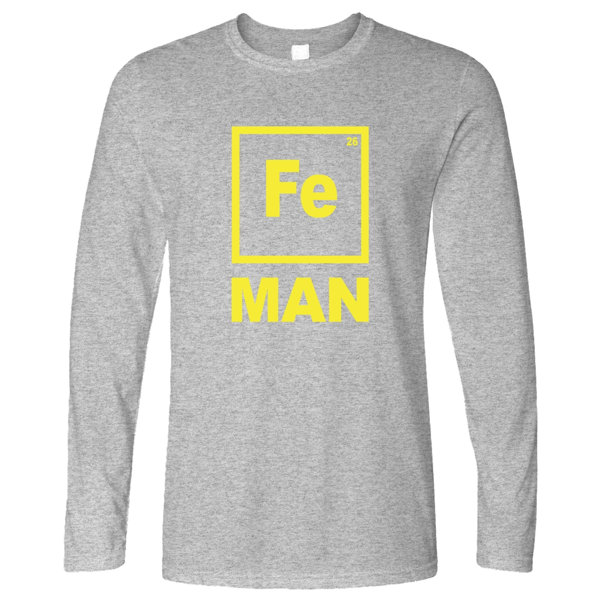 Novelty Nerdy Long Sleeve Fe Man Iron Chemical Symbol T-Shirt