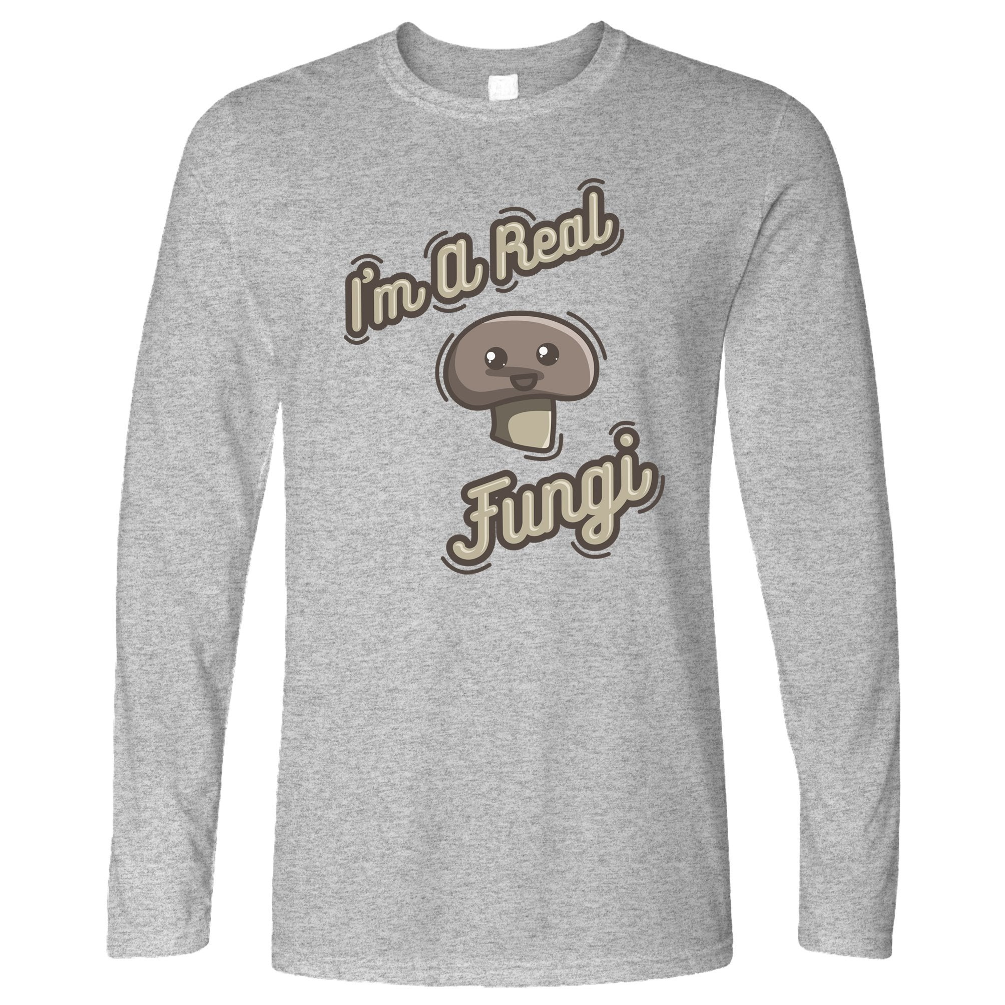 Novelty Vegan Long Sleeve I'm A Real Fun Guy Fungi Pun T-Shirt