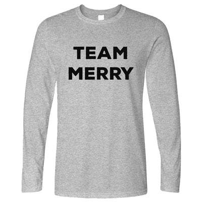 Novelty Xmas Long Sleeve Team Merry Christmas T-Shirt