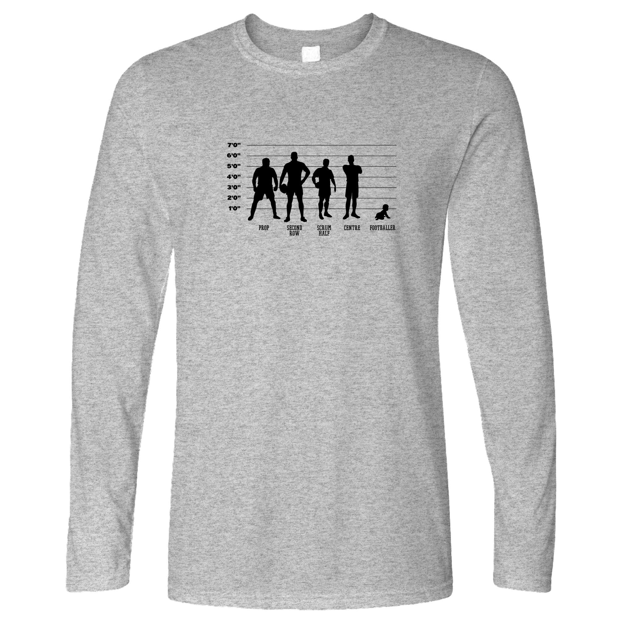 novelty sports long sleeve rugby vs football baby lineup t-shirt - small / grey
