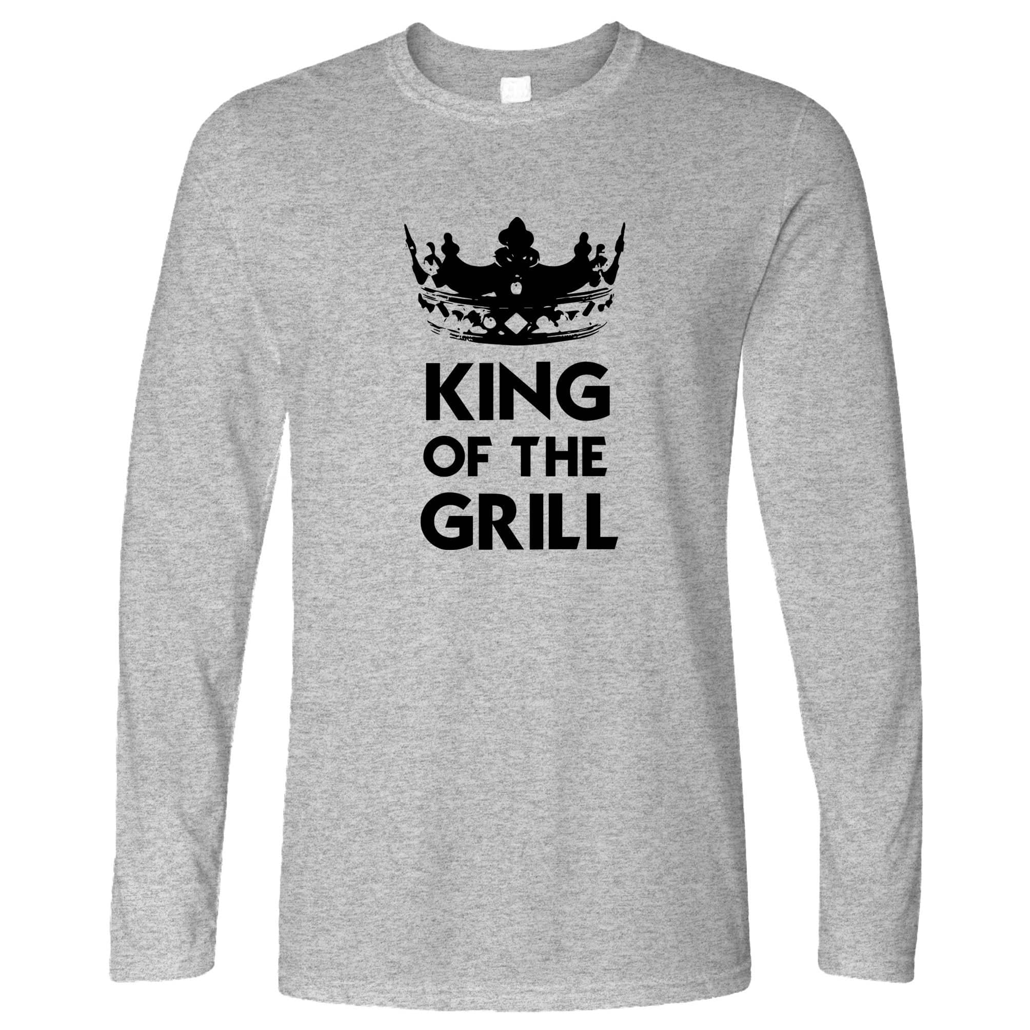 Novelty Cooking Long Sleeve King Of The Grill Slogan T-Shirt