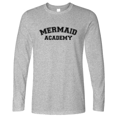 Novelty Mythical Long Sleeve Mermaid Academy Slogan T-Shirt