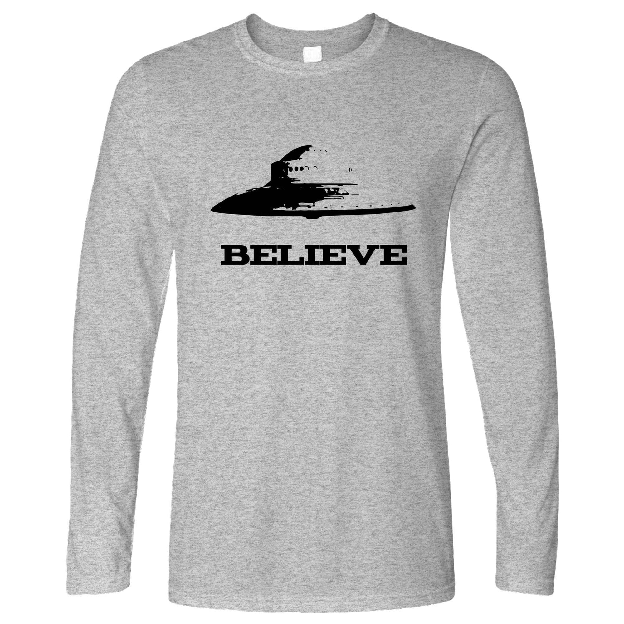 Alien Long Sleeve Believe in UFO Flying Saucers T-Shirt