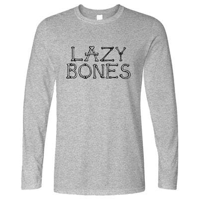 Novelty Halloween Long Sleeve Lazy Bones Joke Slogan T-Shirt