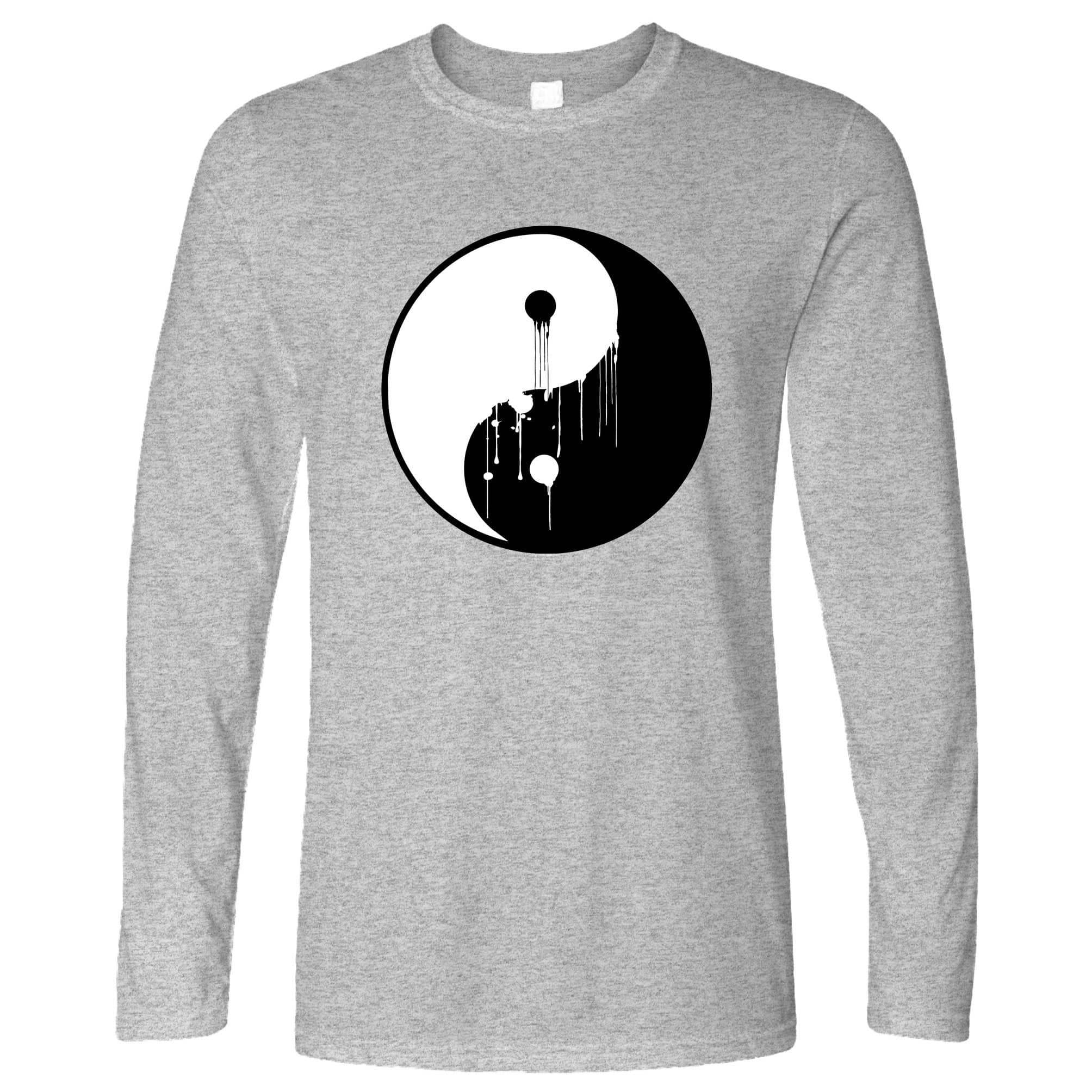 Art Long Sleeve Painted Dripping Ying Yang Balance Symbol T-Shirt