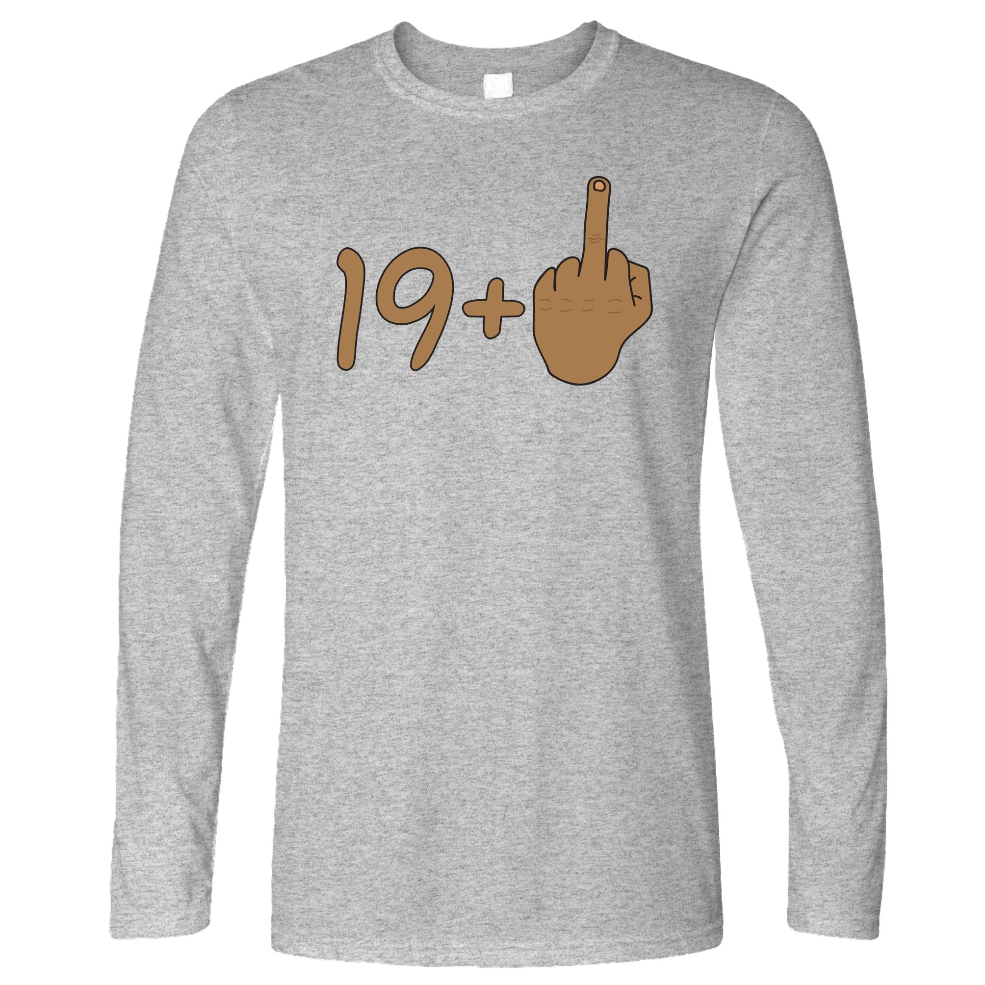 Rude 20th Birthday Long Sleeve Tanned Middle Finger T-Shirt