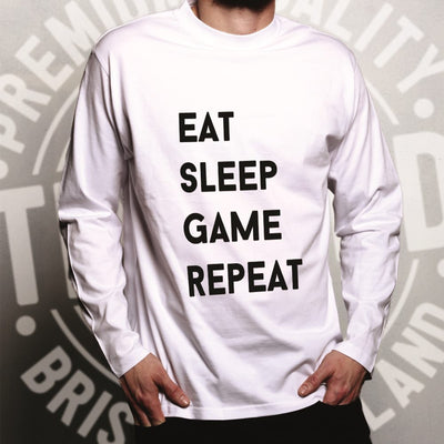 Nerd Long Sleeve Eat, Sleep, Game, Repeat Slogan T-Shirt