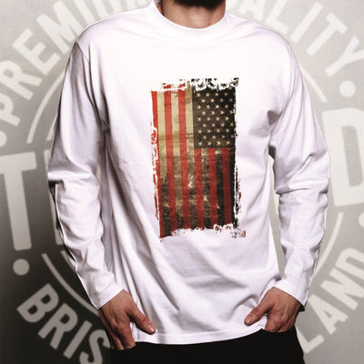 4th Of July Long Sleeve Distressed USA American Flag Art T-Shirt