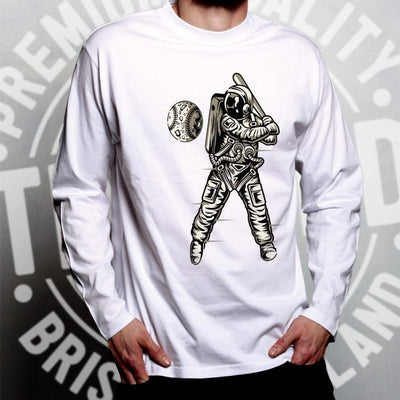 Geeky Sports Long Sleeve Astronaut Space Baseball Art T-Shirt