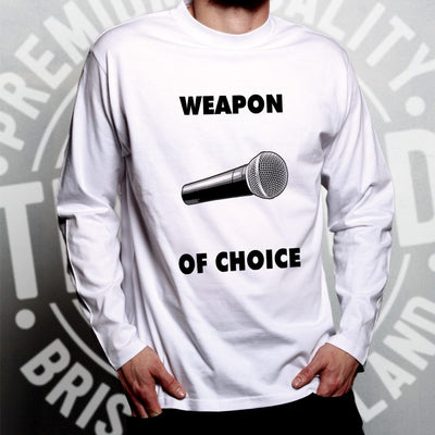 Novelty Music Long Sleeve Weapon of Choice Microphone T-Shirt