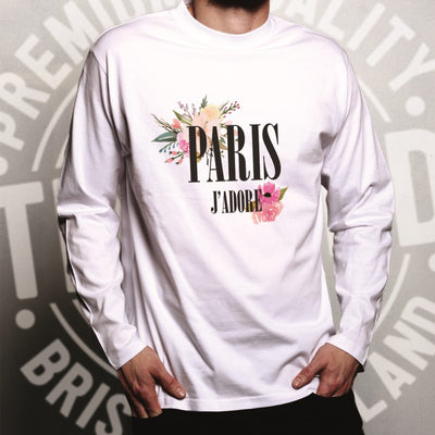Watercolour Art Long Sleeve J'adore Paris Flowers Logo T-Shirt