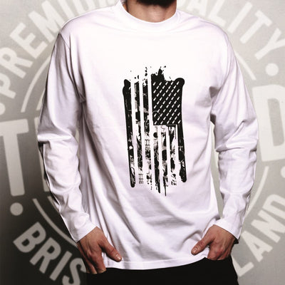 American Flag Long Sleeve Stylised with Skulls and Bombs