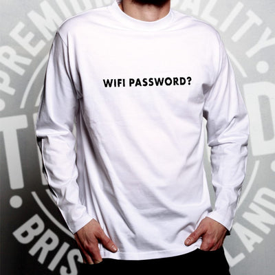 Novelty Nerdy Long Sleeve Wifi Password Slogan T-Shirt