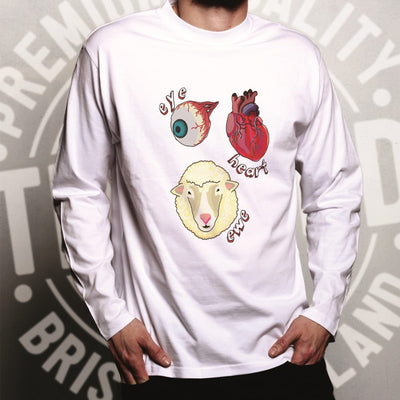 Creepy Long Sleeve Eye Heart Ewe I Heart You Pun T-Shirt