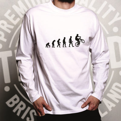 Sports Long Sleeve Evolution Of A Mountain Biker T-Shirt