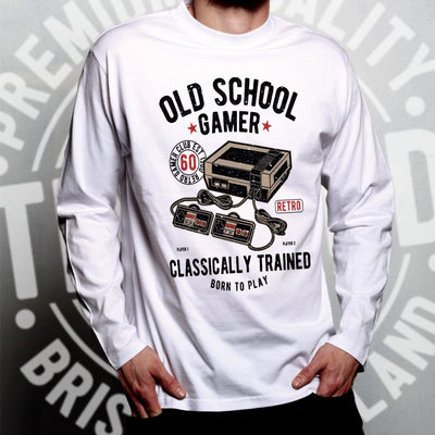Gaming Long Sleeve Old School Gamer Retro Videogame Arcade T-Shirt