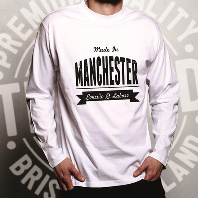 Hometown Pride Long Sleeve Made in Manchester Banner T-Shirt