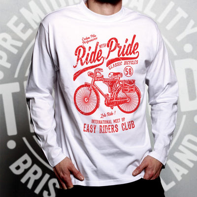 Cycling Long Sleeve Ride With Pride Retro Cyclist Bike