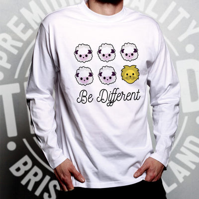Novelty Long Sleeve Be Different Cartoon Sheep Slogan T-Shirt