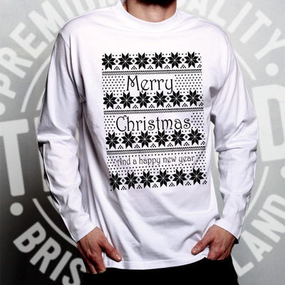 Merry Christmas Long Sleeve Xmas Ugly Sweater Pattern T-Shirt