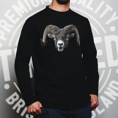 Ram Face Long Sleeve Cool Horned Goat Head