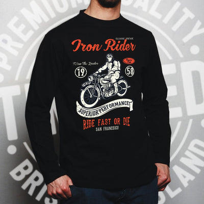 Retro Biker Long Sleeve Iron Rider, Ride Fast Or Die Art T-Shirt
