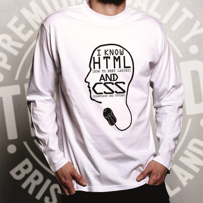 Nerdy Long Sleeve I Know HTML And CSS Pickup Line T-Shirt