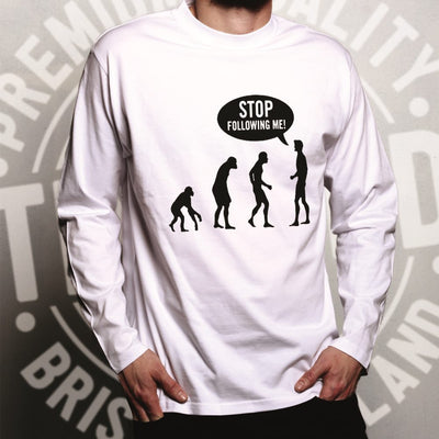 Stop Following Me Novelty Long Sleeve Evolution Parody T-Shirt