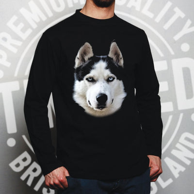Husky Face Long Sleeve Cute Dogs Head Photo T-Shirt