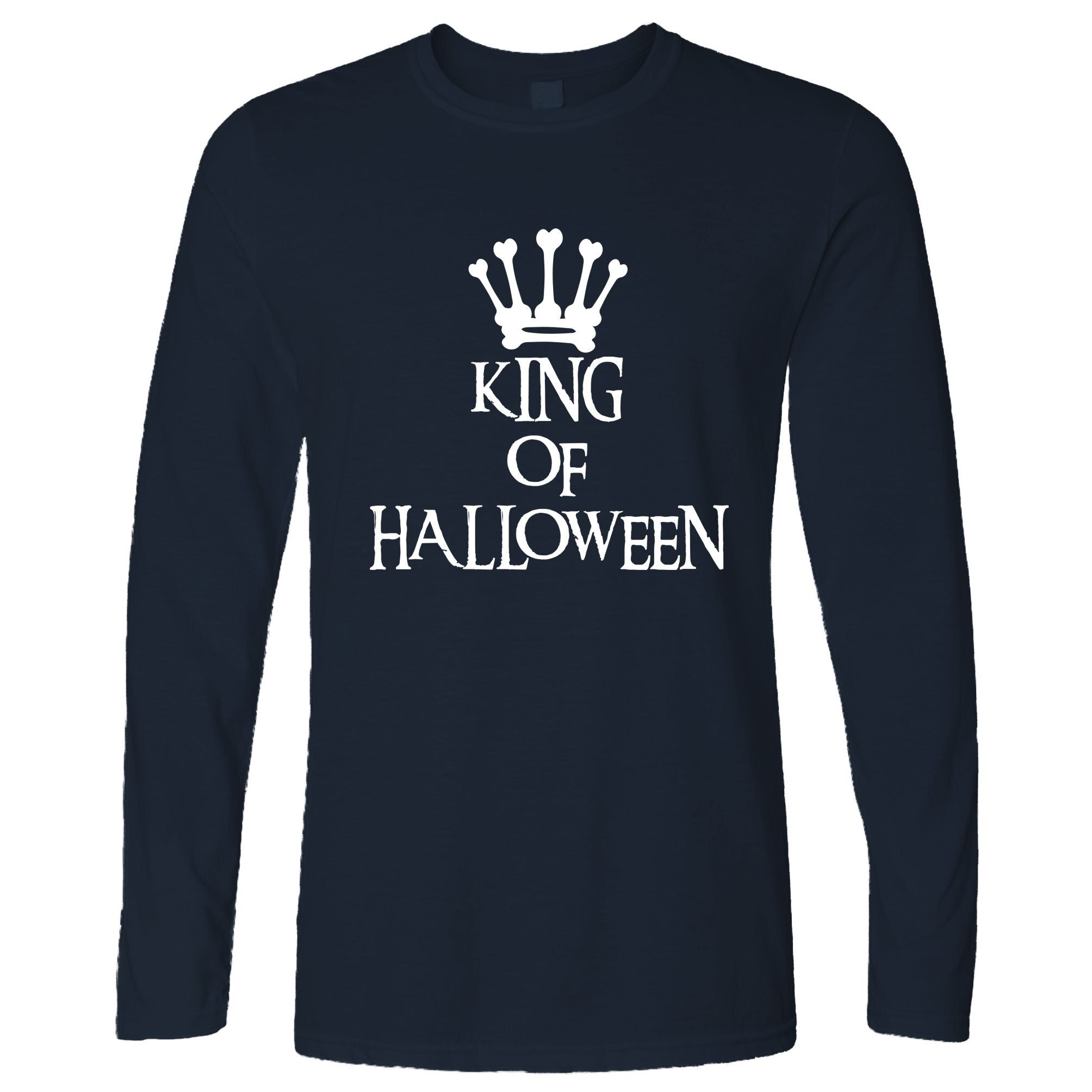 Novelty Spooky Long Sleeve King Of Halloween Crown T-Shirt