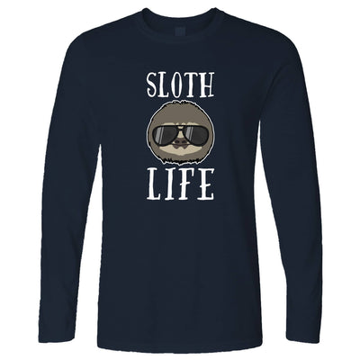 Novelty Animal Long Sleeve Sloth Life Pun Slogan T-Shirt
