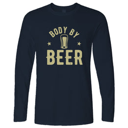 Funny Pub Long Sleeve Body By Beer Logo Distressed Drinking Slogan