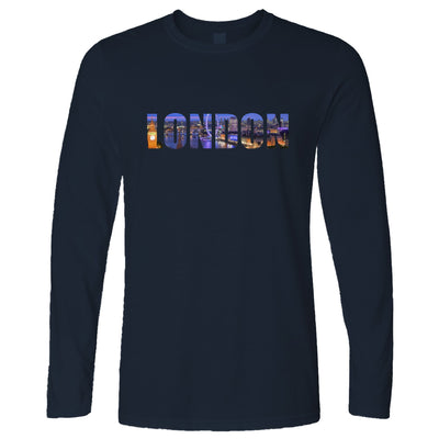 Tourist Long Sleeve City Of London At Night Text Cutout T-Shirt